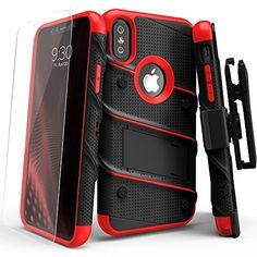 iPhone X Case - Zizo [Bolt Series] with FREE [iPhone X Screen Protector] Kickstand [12 ft. Military Grade Drop Tested] Holster Belt Clip