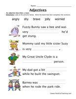 adjectives worksheet, describing words, parts of speech worksheet