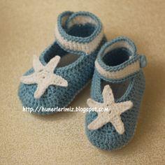 Hünerlerimiz: Tığ işi Bebek Patiği Yapılışı (4-8 ay) - Crochet Baby Booties Pattern (4-8 months)