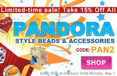 New sale! Save 15% on all #Pandora Style Beads at www.beadaholique.com - Hundreds of designs for #beading #crafts and #jewelry making. Ends Monday, May 7th.