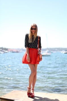 skirt, polka dots, red, fashion, sunglasses