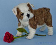 English bulldog puppy OOAK needle felted dog figurine TOBY award winning artist | eBay
