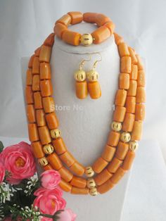Free ship!!! Z-1156 New Amazing Three Drum Orange Coral Beads Jewelry Set  $71.06