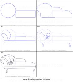 How to Draw a Chaise Lounge printable step by step drawing sheet : DrawingTutorials101.com