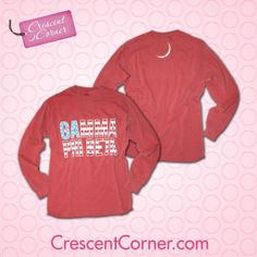#TrendyThursday! Pledge your allegiance to #GammaPhiBeta with this crimson long sleeve top. Like, share or pin to win all the Crescent Corner items featured in November!