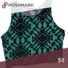 tribal print cropped tank top this tribal print green and black cropped tank top is super cute comfy and stretchy. Listed on merc for cheaper w free ship Tops Crop Tops