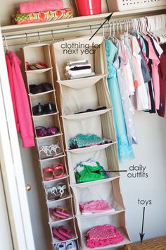 putting an entire outfit on each shelf  gives just 3-4 choices of an 'outfit' not individual pieces (maybe will help with arguments about clothes?!?!?)
