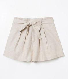 Short Clochard em Linho - Renner Short Skirts, Short Dresses, Mini Skirts, Striped Shorts, Lace Shorts, Look Blazer, Hot Pants, Shirts For Girls, Casual Looks