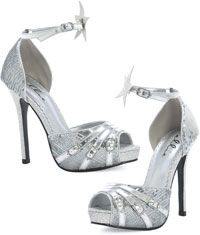 Silver Sparkler High Heel Shoes Costume Shoes