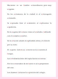ejercicio para practicar la ortografía con x y s