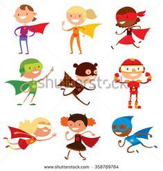 Superhero kids boys and girls cartoon vector illustration. Super children illustration. Super hero kids playing, fly, Super kids in action. Superkids flying, success people concept