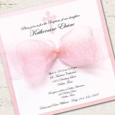 baptism invitations in spanish | Girl Baptism Invitation Christening Pink Ribbon