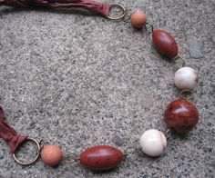 Things Are Bad, Send Chocolate Necklace $24.00 - handmade using soft, silk ribbon made from recycled saris and vintage beads in shades of brown - eco-friendly, urban chic