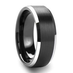 A men's ring with a brilliant design, the Silver Smoke. This ring is unique with it's two tone look. The edges are beveled with a high polished mirror finish while the center's smoke black. Cool style for a mens wedding band or fashion. 8mm band width.