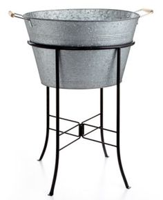 With a utilitarian design and undeniable charm, Artland's Oasis party tub and stand fit right into sunny days around a picnic table and every barbecue bash. Galvanized tin gives any setting a rustic country feel as you keep beverages cool. Barbacoa, Pots, Serveware, Picnic Table, Just In Case, Sweet Home, Sweet 16, Backyard, Entertaining