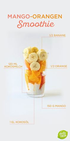Yummie - Yummy - mjam - lecker - mniam mniam ciap ciap Sommer-Smoothie / / Mango Kokos Orange How to Fruit Smoothies, Good Smoothies, Smoothie Drinks, Kiwi Smoothie, Detox Drinks, Best Smoothie Recipes, Healthy Dessert Recipes, Healthy Drinks, Health Desserts