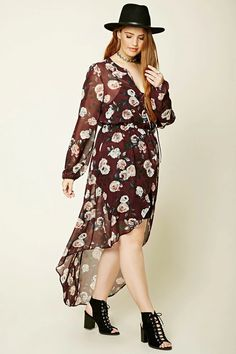 Forever 21+ - A semi-sheer tunic with an allover floral print, a self-tie split neckline, a buttoned front, long sleeves with elasticized trim, an elasticized waist, and a front slit.