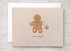 Funny Christmas Card Set of 10 - Oh Snap Painted Broken Gingerbread Man on Brown Recycled Cardstock OR Bah Humbug Unique Christmas Cards (40.00 USD) by HappyDappyBits