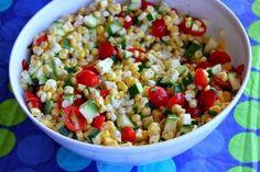 Fresh Corn, Tomato and Zucchini Salad. An easy, no cook, recipe perfect for picnics!