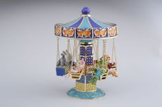 Swing Carousel with Animals Faberge Style Trinket Box Handmade by Keren Kopal Decorated with Swarovski Crystals