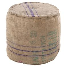 Jute pouf with aqua stripes and button tufting.   Product: PoufConstruction Material: JuteColor: Sand ...