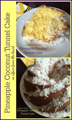 Pineapple Coconut Tunnel Cake - Moist pineapple bundt cake, with a sweet coconut center, drizzled in pineapple glaze and sprinkled with coconut. from An Affair from the Heart