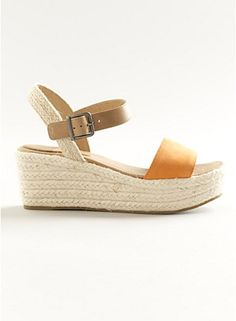 Clasp Wedge Sandal in Italian Buffed Leather