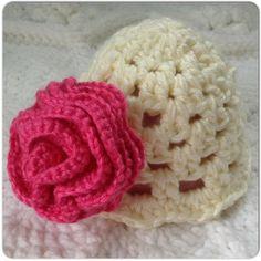 Pink Rose Baby Hat Baby Girl Rose Hat Infant by OnceUponACraft4U, $18.97