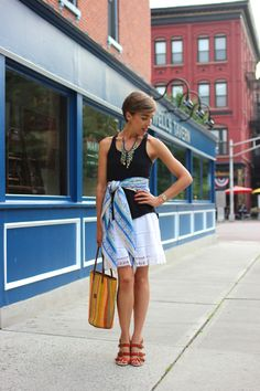 spice up a skirt with the easiest swoosh of a linen scarf