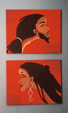Black Art/ African American Art His & Hers Set by ArtbyTiffani
