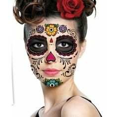 Sugar skull halloween makeup ❤ liked on Polyvore featuring beauty products and makeup