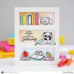 Today on my blog, my card for @mamaelephant Book Worm Stamp Highlight, here I combined with #mamaelephant tri window cover creative cuts.