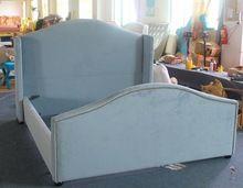 La última alta tablero de pie tela cama muebles de diseño retro para la familia moderna decoración(China (Mainland))