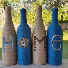 Check out this item in my Etsy shop https://www.etsy.com/listing/478093233/decorated-wine-bottles-set-of-4-home