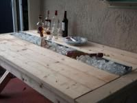 DIY Rustic Outdoor BBQ Table with Cooling Tray in the middle | The Design Confidential