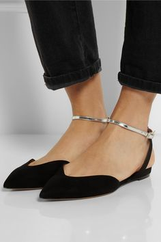 Tabitha Simmons|Vera metallic leather and suede point-toe flats|NET-A-PORTER.COM