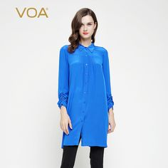 >> Click to Buy << VOA 2017 Summer Royal Blue Brief Silk Shirt Plus Size Loose Casual Solid Business Basic Women Tops Office Long Blouse B7096 #Affiliate