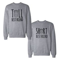 Details about Tall And Short Best Friends BFF Sweatshirts Matching Sweat Shirts - Sweat Shirt - Ideas of Sweat Shirt - Shirts Bff, Best Friend Sweatshirts, Best Friend T Shirts, Friends Sweatshirt, Best Friend Outfits, Cute Shirts, Best Friends, Best Friend Clothes, Best Friend Things