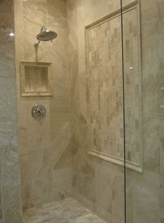 bathrooms - Tile, from, the, Tile, Shop, cut, out, in, shower, Queen Beige Marble shower