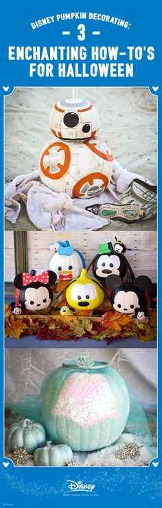 Scare up some DIY Halloween spirit with these kid-friendly Disney pumpkin ideas. Find printable templates, easy no-carve pumpkin designs and a chilling way to decorate with glitter. Disney Halloween, Spirit Halloween, Holidays Halloween, Halloween Crafts, Holiday Crafts, Holiday Fun, Halloween Decorations, Halloween Party, Halloween Costumes