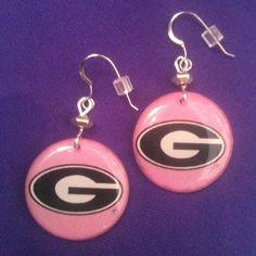 Licensed Collegiate Earrings  Pink Georgia Girl by AnnPedenJewelry, $14.99
