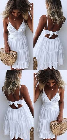 A-Line Spaghetti Straps Backless White Homecoming Dress with Lace sexy white short lace homecoming dresses for teens, fashion spaghetti straps beach summer dress Backless Homecoming Dresses, Grad Dresses, Trendy Dresses, Cute Dresses, Short Dresses, Elegant Dresses, Wedding Dresses, Beach Formal Dresses, Dresses Dresses