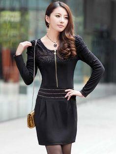 Beading slim fit dress