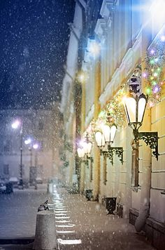A snowy evening, Mikhailovsky Theatre, St. Petersburg, Russia