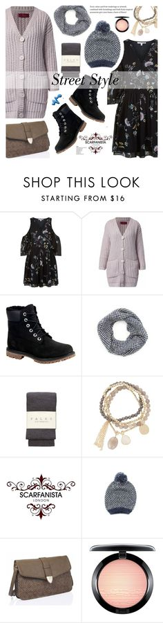"""""""Street style - Scarfanista London 10"""" by cly88 ❤ liked on Polyvore featuring Rebecca Minkoff, WtR London, Timberland, Falke, DesignSix, MAC Cosmetics and Topshop"""