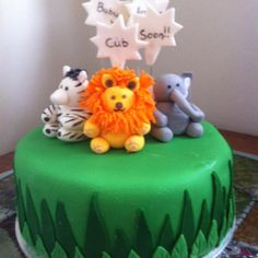 Zoo themed baby shower cake