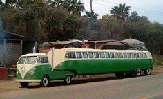 VW Camper Truck and Trailer (flat bed / pick up / stretched / bus / campervan / van / Volkswagen) Volkswagen Bus, Volkswagen Transporter, Vw T1 Camper, Volkswagen Models, Location Camping Car, Vw Camping, Glamping, Funny Camping, Kombi Trailer