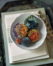 Use pom-poms to bring bursts of color and texture to bedspreads, lampshades, pillows, and more.