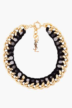 Yves Saint Laurent Black And Gold Velvette Chain Necklace