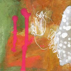 4 x 4 series acrylic, collage and ink on wood block  Linda O'Neill ~ abby creek studios